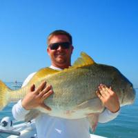 Client with a huge black drum fishing St Pete on a fishing charter
