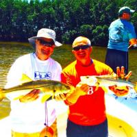 Doubled up on this healthy pair of snook during this St Pete fishing charter